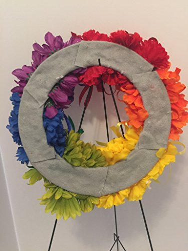 COLLEGE PRIDE - SPIRIT - LGBTQ - STUDENT ORGANIZATIONS - UNIVERSITY DIVERSITY GROUPS - GAY PRIDE - DORM - COLLECTOR WREATH - RAINBOW CARNATIONS, ZINNIAS, AND DAISIES - RAINBOW FLAG by Peters Partners Design (Image #6)