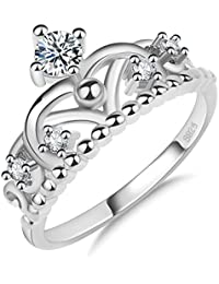 Women Princess Queen Crown Engagement Ring Zircon Rhinestone Rings Jewelry for Lady Girls