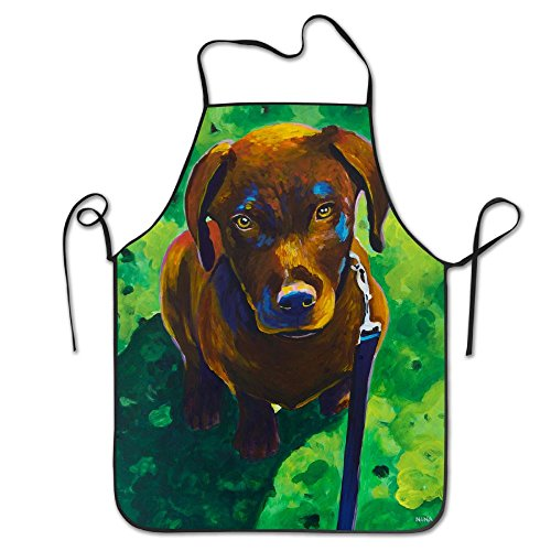 RZ GMSC Novelty Chocolate Labrador Retriever Puppy Dog Painting Unisex Kitchen Chef Apron - Chef Apron For Cooking,Baking,Crafting,Gardening And ()
