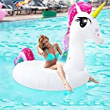 iBaseToy Unicorn Inflatable Pool Float Party Tube - Large Size...