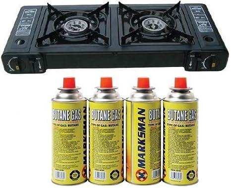 Cocina de gas portátil con doble estufa de butano, para ...
