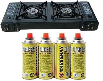 Nueva cocina de gas portátil doble estufa butano Camping barbacoa fiesta quemador con 4 Gas: Amazon.es: Deportes y aire libre