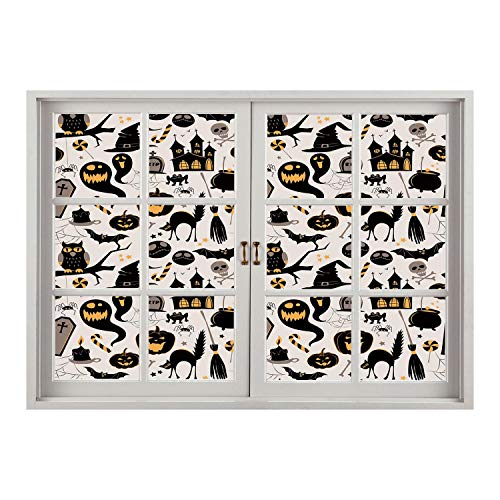 SCOCICI Peel and Stick Fabric Illusion 3D Wall Decal Photo Sticker/Vintage Halloween,Halloween Cartoon Jack o Lantern Tombstone Skulls and Bones Decorative,Light Grey Multicolor/Wall Sticker Mural ()