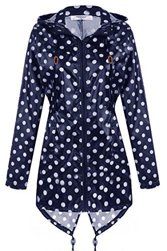 Meaneor Damen Polka Dots Übergangsjacke Regenjacke Regenmantel mit Kapuze Tasche Regenparka Regen-Mac Wasserdicht Atmungsaktiv