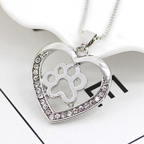 1pc Romantic Heart Dog Paw Long Necklace Silver Hollow Rhinestone Pet Pendant Animal GR8Z