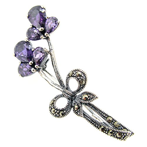 (Queenberry Sterling Silver Natural Marcasite Purple Cubic Zirconia Flower Ribbon Brooch with Safety Pin)