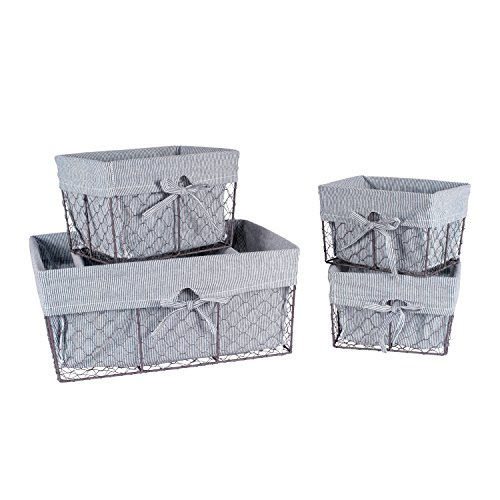 Home Traditions Vintage Metal Chicken Wire Storage Basket with Removable Fabric Liner, Set of 5 Mixed Nesting Sizes, Ticking White & Black Denim Striped