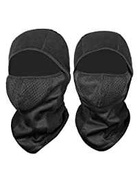 COMLIFE Windproof Ski Balaclava - Thermal Fleece Fabric with Breathable Vents for Cold Cycling Skiing Motorcycle Snowboard Tactical Hunting, Black, 2 Pack