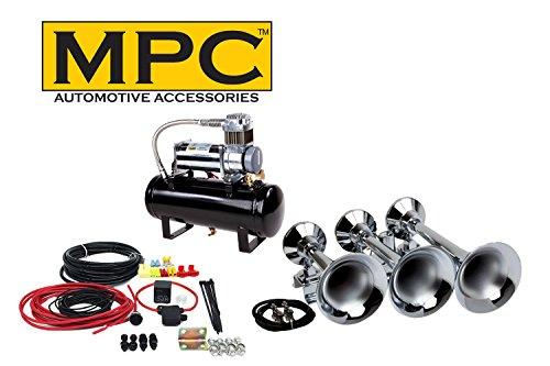 MPC Train Air Horn Kit; Three Huge Trumpet Flat-Rack, Heavy Duty 150 PSI Compressor