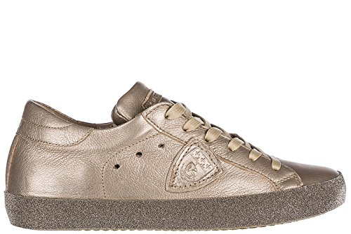 in Sneakers Scarpe Nuove Philippe Paris Donna Model Oro Pelle Glitter wRqPW71H