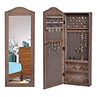 GOFLAME Jewelry Cabinet Wall Mounted, Jewelry Armoire Organizer with Full Length Mirror, Rustic Jewelry Storage Cabinet Adjustable Heights for Necklace, Rings, Bracelet Storage (Natural)