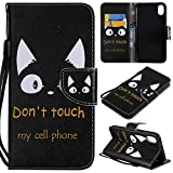 Ostop Colorful Painted Leather Wallet Case for iPhone Xs Max,[Kickstand Feature] Funny Alphabet Cat Printed Black PU Magnetic Flip Cover with Card Slots Wrist Strap Shockproof Shell