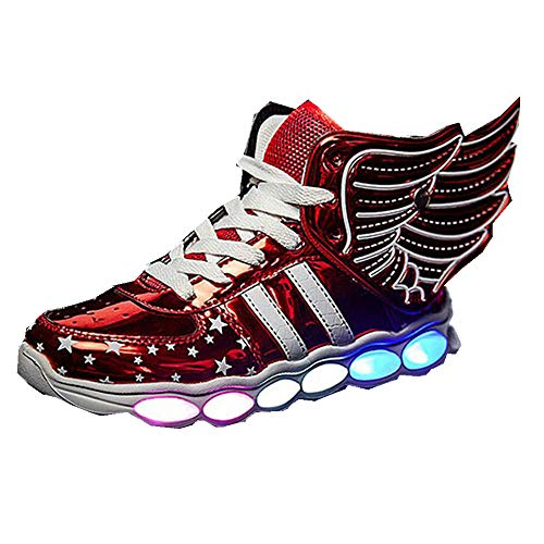 Bloossom Kid's Unisex high Child Illuminated Shoes Skates Sneakers(Red-EU 37/5 M US Big Kid)