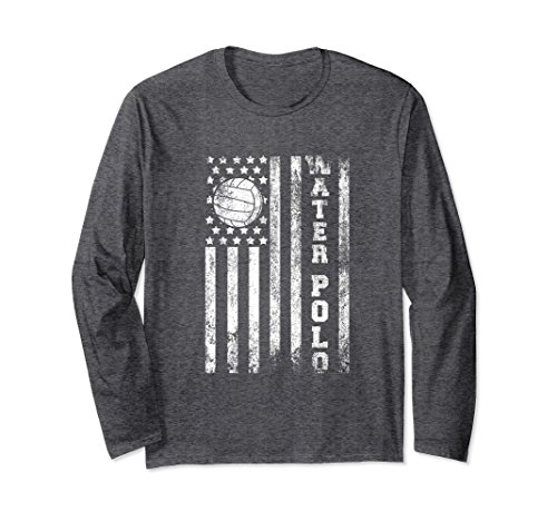 Unisex Water Polo American Flag Distressed Sports Long Sleeve Shirt XL Dark Heather