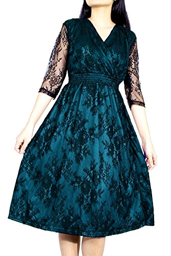 Women Vintage Floral Lace Wedding Party Formal Evening ...