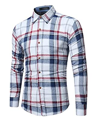 Cafuny Mens Casual Slim Fit Long Sleeve Button Down Plaid Dress Shirts