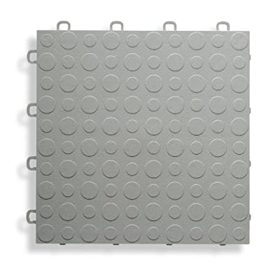 BlockTile B0US4630 Garage Flooring Interlocking Tiles Coin Top Pack, Gray, 30-Pack