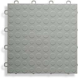BlockTile B0US4630 Garage Flooring Interlocking Tiles Coin Top Pack, Gray, 30-Pack