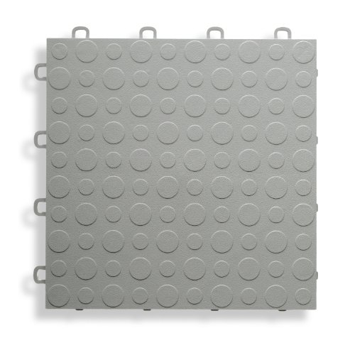 BlockTile B0US4630 Garage Flooring Interlocking Tiles Coin Top Pack,  Gray, (Interlocking Garage Floor)