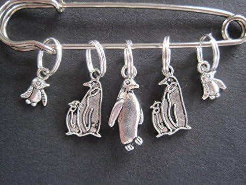 Charmed Knitting Maschen-Markierung Pinguin-Familie Silberfarben