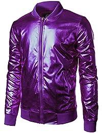Mens Metallic Nightclub Styles Zip Up Varsity Baseball Bomber Jacket