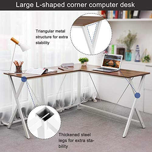 VASAGLE L-Shaped Computer Desk, Corner Office Writing Desk, Gaming Workstation, Sturdy Metal Frame, Easy Assembly, Tools and Instructions Included 57.1''x 51.1'' x 29.9'' ULWD70WH by VASAGLE (Image #4)