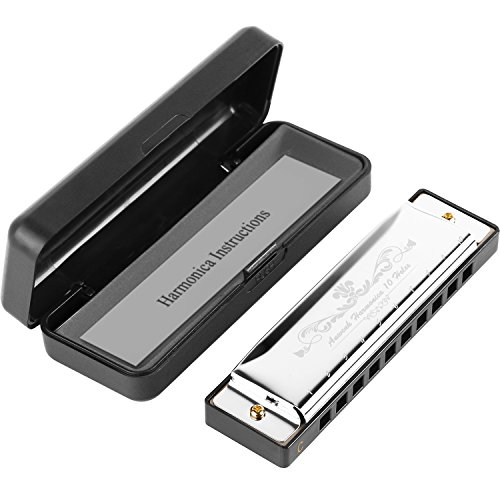 Anwenk Harmonica Key of C 10 Hole 20 Tone Diatonic Harmonica C with Case for Beginner,Students, Kids Gift