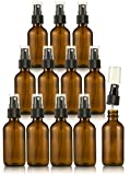 Amber Glass Spray Bottles - 12-Pack Boston Round Fine Mist Bottle with Atomizer Pump - Refillable Misting Sprayer Glass Bottle for Light Liquid, Essential Oils, Aromatherapy, Perfumes, Travel - 2 oz