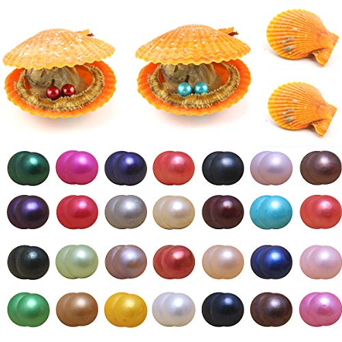 10 PCS Akoya Pearls Oysters, Twin Pearls Saltwater Cultured Love Wish Red Oyster with 6.5-7.5 mm Round Pearl Inside