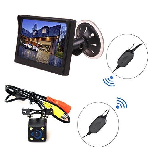HAIN 4 Led Wireless Backup Camera + 4.3 inch Dash LCD TFT Monitor Reverse Car Automobile Parking Kit Assistance Rear View Night Vision [並行輸入品] B01NCRAPBJ