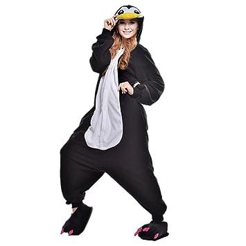 JINZFJG Pijamas Siameses de Franela Dibujo Animado Hombre/Mujer Pijama Disfraz Cosplay, Pingüino,
