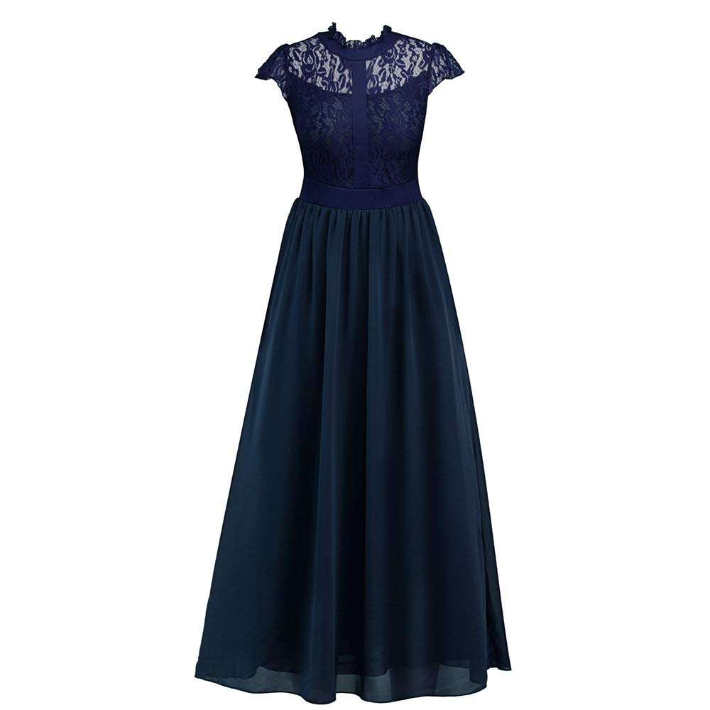 bluee Dress, Women's Cocktail Formal Swing European and American Long Lace Dress Dress Sleeveless Slim Business Pencil (color   bluee, Size   XL)