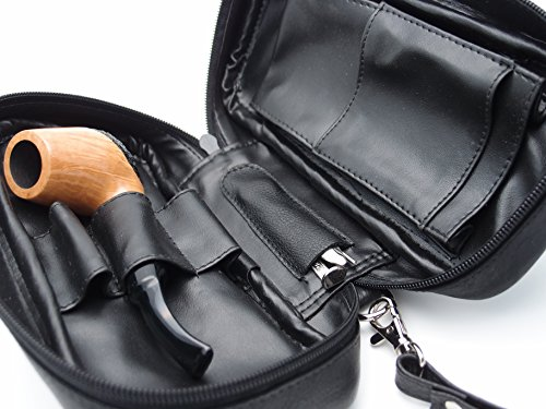 Tobacco Pipe Leather Case - 3 Pipes - Authentic Full Grade Leather - Black by Mr. Brog (Image #3)