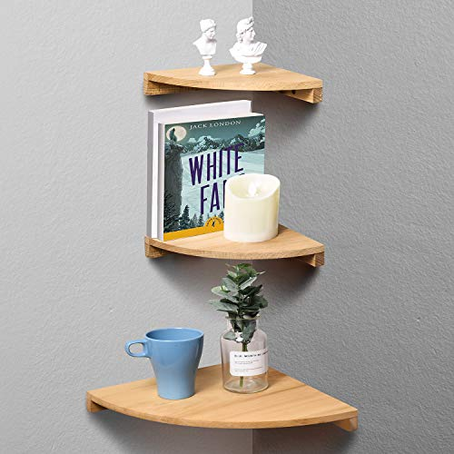 (Yankario Corner Wall Shelf Set of 3, Solid Beech Wood Floating Shelves Wall Mounted, Natural)