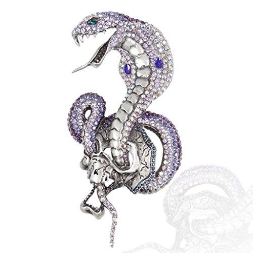 EVER FAITH® Vintage Style 4.7 Inch Cobra Serpent Broche Pourpre Cristal Autrichien N02150-1