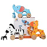 Wooden Pull Along Toy Set Of 3- Beautiful Giraffe, Elephant & Zebra Pull Along Toy For Baby Boys & Girls- The Best Toy For 1-Year Olds- Outdoor & Indoor Toy For Babies &Toddlers- Child Safe Toy