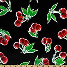 Oilcloth Stella Cherries Black Fabric By The Yard