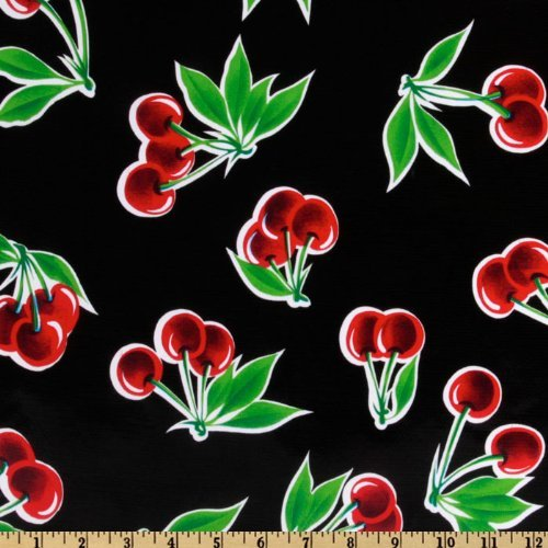 OilCloth International Oilcloth Stella Cherries Black Fabric by The Yard, ()