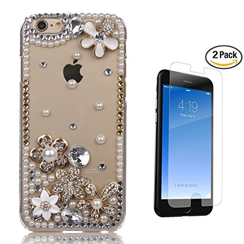 STENES iPhone 8 Case - 3D Handmade Luxury Flowers Pretty Floral Sparkle Rhinestone Design Cover Bling Case For iPhone 7 / iPhone 8 Screen Protector & Retro Bowknot Dust Plug - Clear