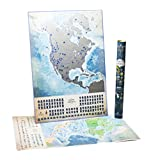 North America Scratch Off Map Luminous in the Dark with Challenges, w Canada map States, Flags and More than 100 Best Places and National Parks to Visit. Push Pin Travel Tracker Map