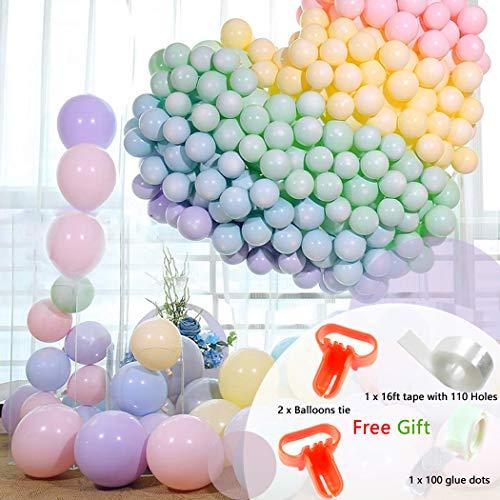 104PcsPastelLatexBalloons10inchesRainbowSetAssortedMacaronCandy ColorforBirthdayWeddingChristmasBabyShowerGraduationKidsPartySupplies and Decoration (Macaron Party Supplies)