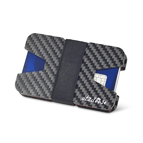 Price comparison product image Slim Wallets for Men Carbon Fiber RFID Blocking Wallet Credit Card Holder Mens Gifts Ideas + Gift Box Gifts for dad