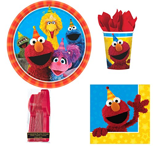 Sesame Street Birthday Party Set for 8 Guests (Sesame Street Party Big Bird Lunch Napkins)