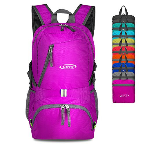G4Free 40L Lightweight Packable Durable Travel Hiking Backpack Handy Foldable Camping Outdoor Backpack Daypack (Pink) -