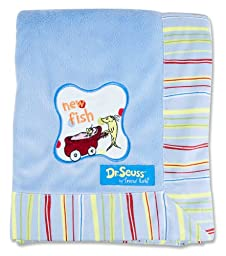 Trend Lab Dr. Seuss Stripe Frame Receiving Blanket, One Fish Two Fish
