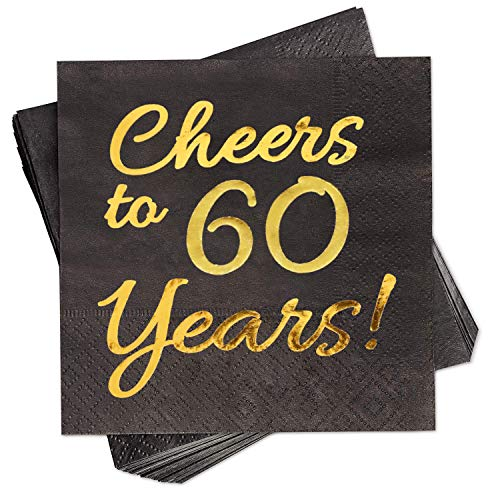 60th Birthday Serviettes (60th Birthday Decorations Party Supplies Cocktail Napkins Black 50 Pack,5