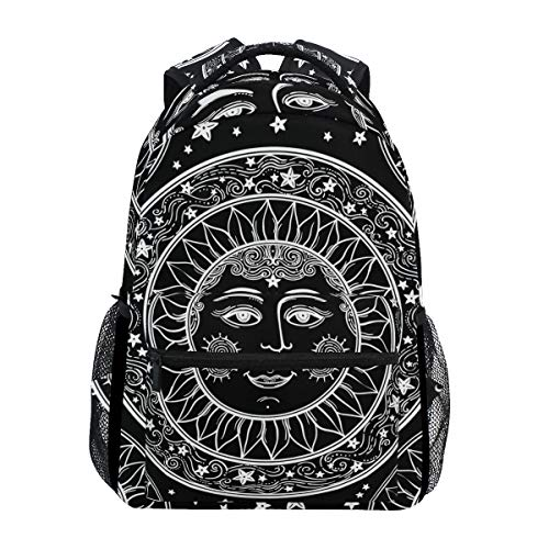 LONSANT Beautiful Sun Face Stars Medallion Ornament Lightweight School Backpack Students College Bag Travel Hiking Camping Bags