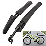 HAPTIME Folding Bicycle Fender Quick Release Mud Shield Mountain Bike Mudguard for Cycling Bicycle Front Rear Fender Set (Black)