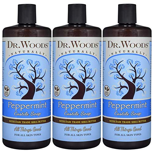 Dr. Woods Pure Peppermint Liquid Castile Soap with Organic Shea Butter, 32 Ounce (Pack of 3)