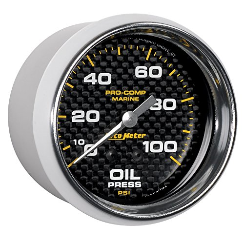 (AutoMeter 200777-40 Marine Mechanical Oil Pressure Gauge 2-5/8 in. Carbon Fiber Dial Face Silver Pointer White Incandescent Lighting Mechanical 0-100 PSI Marine Mechanical Oil Pressure Gauge)